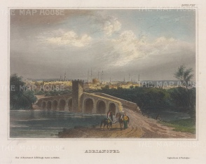 "Meyer: Adrianople (Edirme). 1857. A hand coloured original antique steel engraving. 6"" x 5"". [TKYp1324]"