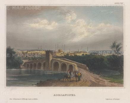 "Meyer: Adrianople (Edirme). 1857. A hand coloured original antique steel engraving. 6"" x 5"". [TKYp1324]"