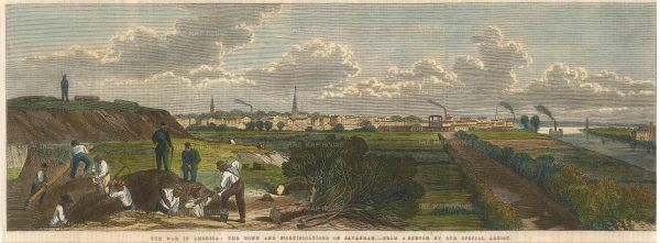 "Illustrated London News: Savannah, Georgia. 1863. A hand coloured original antique wood engraving. 14"" x 7"". [USAp4383]"