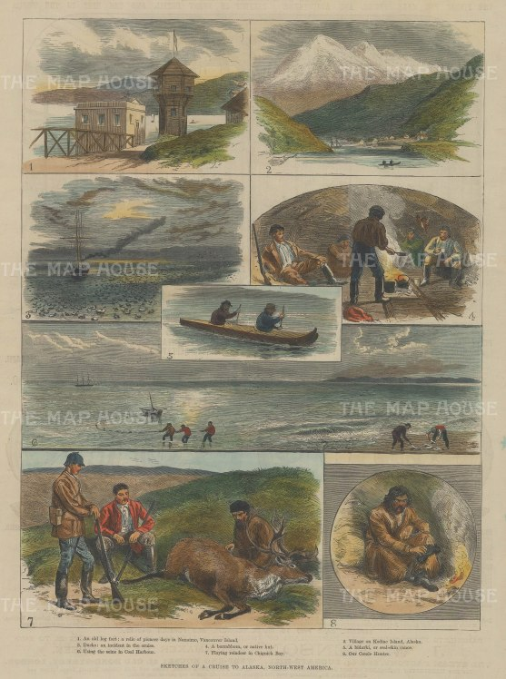 "Illustrated London News: Alaska. 1859. A hand coloured original antique wood engraving. 9"" x 14"". [USAp4678]"