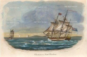 """Gold: Charleston., South Carolina. 1807. A hand coloured original antique aquatint. 8"""" x 5"""". [USAp4685]"""