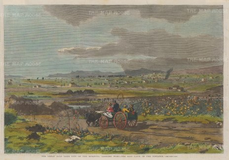 "Illustrated London News: Salt Lake City, Utah. 1858. A hand coloured original antique wood engraving. 14"" x 10"". [USAp4713]"
