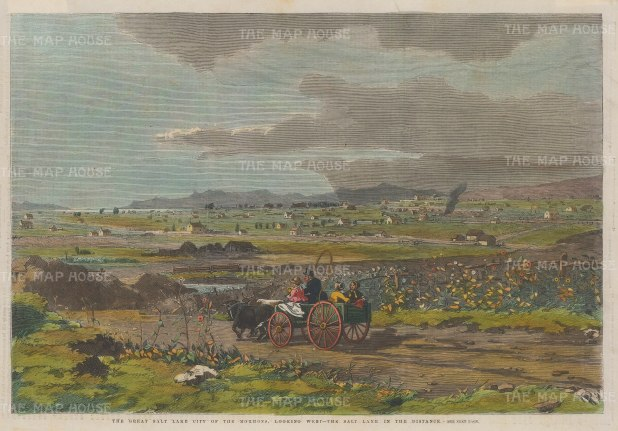 "Illustrated London News: Salt Lake City, Utah. 1858. A hand coloured original antique wood engraving. 14"" x 10"". [USAp4713]"