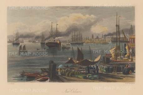 """Picturesque America: New Orleans, Louisiana. 1872. A hand coloured original antique steel engraving. 10"""" x 7"""". [USAp4729]"""