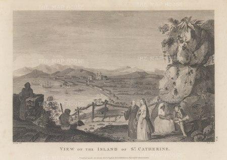 St Catherine's Island (Catalina): Originally discovered in 1542, it was rediscovered in 1602 on St Catherine's day by Sebastian Vizcaino and claimed for the Spanish.