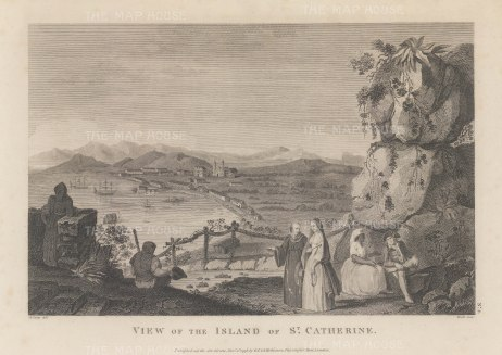 St Catherine's Island {Catalina): Originally discovered in 1542, it was rediscovered in 1602 on St Catherine's day by Sebastian Vizcaino and claimed for the Spanish.
