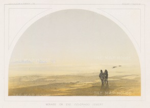Colorado Desert (Sub Sonoran Desert): View of a mirage with disappearing wagon train.