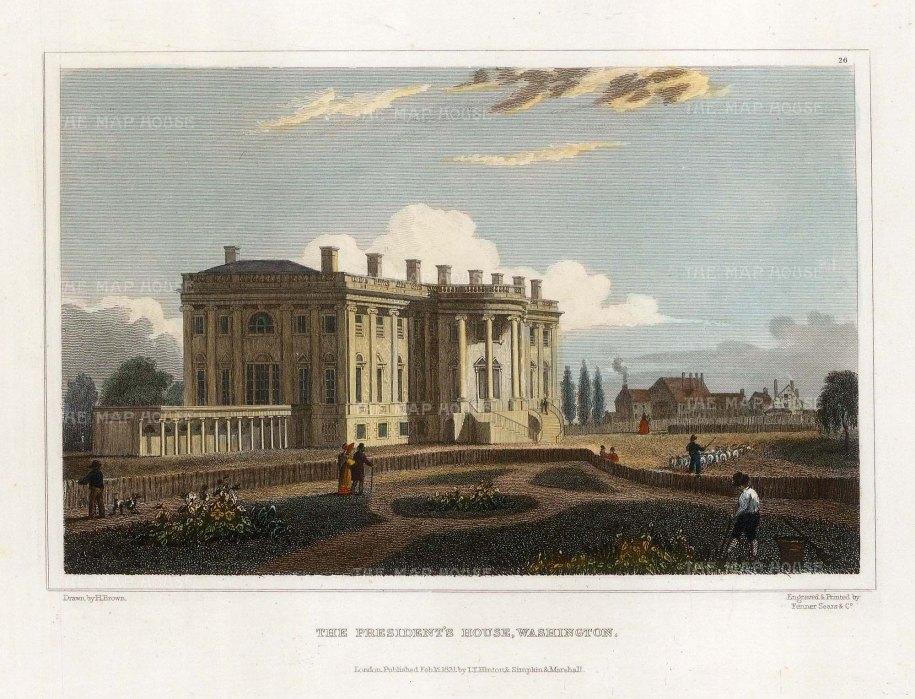 "Hinton: White House, Washington DC. 1831. A hand coloured original antique steel engraving. 6"" x 4"". [USAp4799]"