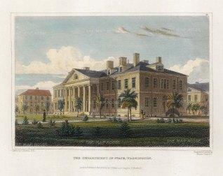 "Hinton: State Department, Washington DC. 1831. A hand coloured original antique steel engraving. 6"" x 4"". [USAp4800]"
