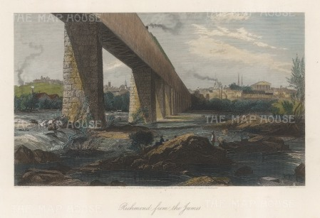 "Picturesque America: Richmond, Virginia. 1872. A hand coloured original antique steel engraving. 10"" x 8"". [USAp4860]"