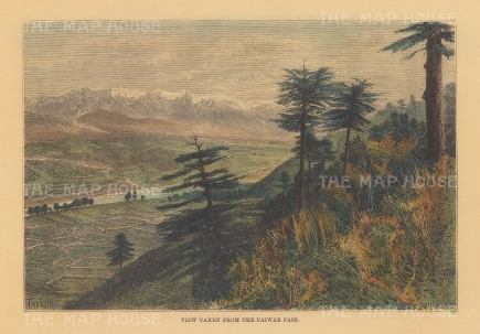 "Reclus: Paiwar Pass. 1894. A hand coloured original antique wood engraving. 8"" x 6"". [AFGp155]"