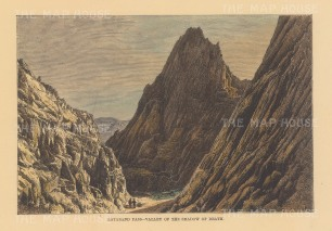 "Reclus: Valley of Death, Lataband Pass. 1894. A hand coloured original antique wood engraving. 8"" x 6"". [AFGp156]"