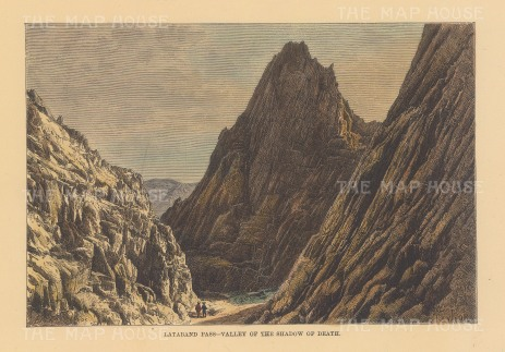 """Reclus: Valley of Death, Lataband Pass. 1894. A hand coloured original antique wood engraving. 8"""" x 6"""". [AFGp156]"""