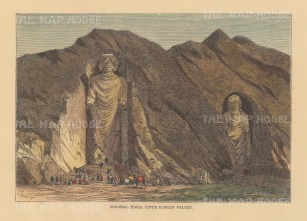 Bamiyan Valley: View of the 4th and 5th century sandstone Gautum Buddhas dynamited in 2001.