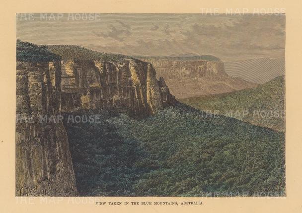 "Reclus: Blue Mountains. 1894. A hand coloured original antique wood engraving. 8"" x 6"". [AUSp727]"