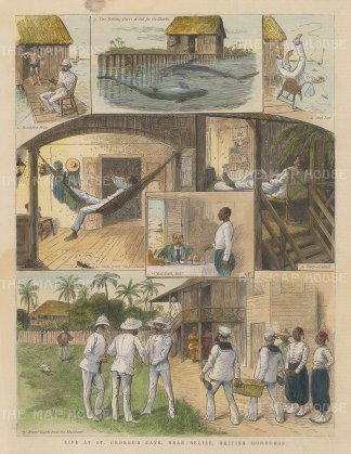 """Illustrated London News: St. George's Caye Island, Belize. 1886. A hand coloured original antique wood engraving. 9"""" x 12"""". [CAMp145]"""