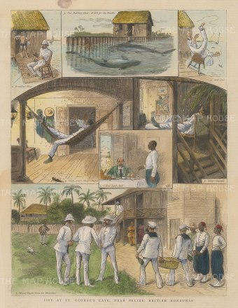 "Illustrated London News: St. George's Caye Island, Belize. 1886. A hand coloured original antique wood engraving. 9"" x 12"". [CAMp145]"
