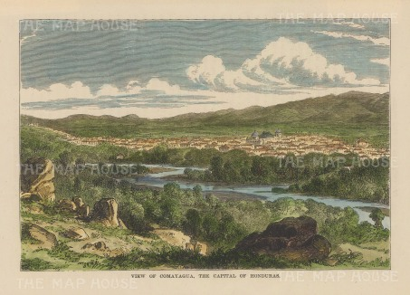 "Brown: Comayagua, Honduras. 1885. A hand coloured original antique wood engraving. 9"" x 6"". [CAMp193]"
