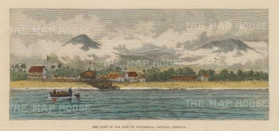 "Illustrated London News: San Jose de Guatemala. c1890. A hand coloured original antique wood engraving. 9"" x 6"". [CAMp200]"