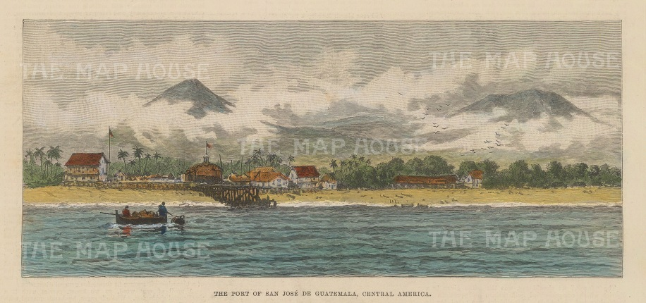 "Illustrated London News: San Jose de Guatemala. c1890. A hand coloured original antique wood engraving. 9"" x 6"". [CAMp200]"