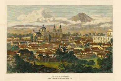 """Illustrated London News: Guatemala City. 1890. A hand coloured original antique wood engraving. 9"""" x 6"""". [CAMp202]"""
