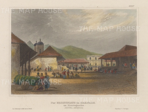 "Meyer: Granada, Nicaragua. 1837. A hand coloured original antique steel engraving. 7"" x 6"". [CAMp217]"