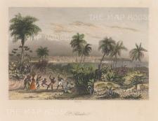"French: Valley of Jiboa, San Salvador. c1840. A hand coloured original antique steel engraving. 8"" x 6"". [CAMp219]"