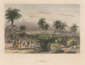 "French: Valley of Jiboa, San Salvador. c1840. A hand coloured original antique steel engraving. 8"" x 6"". [CAMp219]"