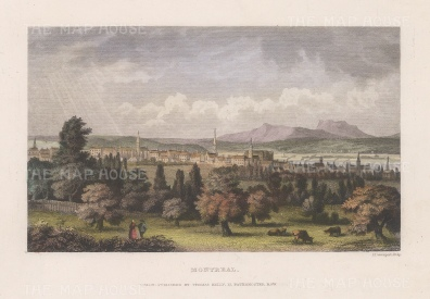 """Picturesque Canada: Montreal. c1845. A hand coloured original antique steel engraving. 8"""" x 6"""". [CANp599]"""