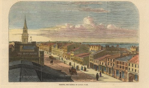 """Illustrated London News. Toronto. 1847. A hand coloured original antique wood engraving. 8"""" x 6"""". [CANp645]"""