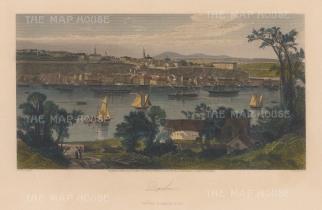 "Picturesque Canada: Quebec. 1867. A hand coloured original antique steel engraving. 10"" x 7"". [CANp649]"