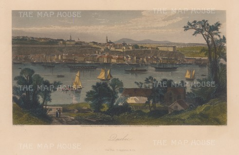 Panoramic view over the St Lawrence river of Cap Daimant and Quebec City: