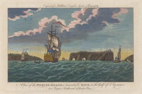 """Middleton: Pierced Island, Quebec.1778. A hand coloured original antique copper engraving. 12"""" x 7"""". [CANp667]"""