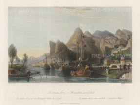 "Wright: Mount Hua. 1847. A hand coloured original antique steel engraving. 8"" x 6"". [CHNp1135]"