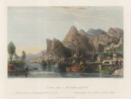 """Wright: Mount Hua. 1847. A hand coloured original antique steel engraving. 8"""" x 6"""". [CHNp1135]"""