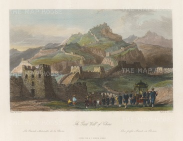 """Wright: Great Wall. 1847. A hand coloured original antique steel engraving. 8"""" x 6"""". [CHNp1137]"""