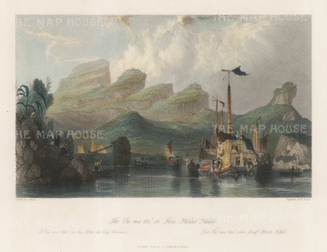 "Wright: Five Horse heads, Ou-ma-too Mountains. 1847. A hand coloured original antique steel engraving. 8"" x 6"". [CHNp1139]"