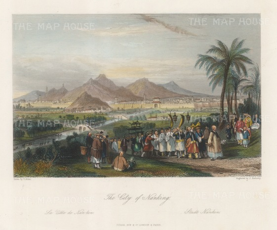 """Wright: Nanking. 1847. A hand coloured original antique steel engraving. 8"""" x 6"""". [CHNp1140]"""