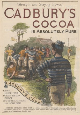 "Illustrated London News: Cadbury Cocoa. 1889. A hand coloured original antique wood engraving. 14"" x 9"". [DECp2102]"