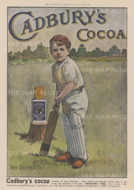 "Illustrated London News: Cadbury Cocoa. 1902. A hand coloured original antique wood engraving. 14"" x 9"". [DECp2103]"