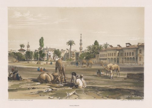 "Hay: Palace of Shereef Bev. 1840. An original colour antique lithograph. 16"" x 12"". [EGYp1019]"
