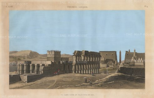 Luxor: View of the Temple from the south. Imperial edition of the Description de L'Egypte which recorded the highly influential Napoleonic expedition.