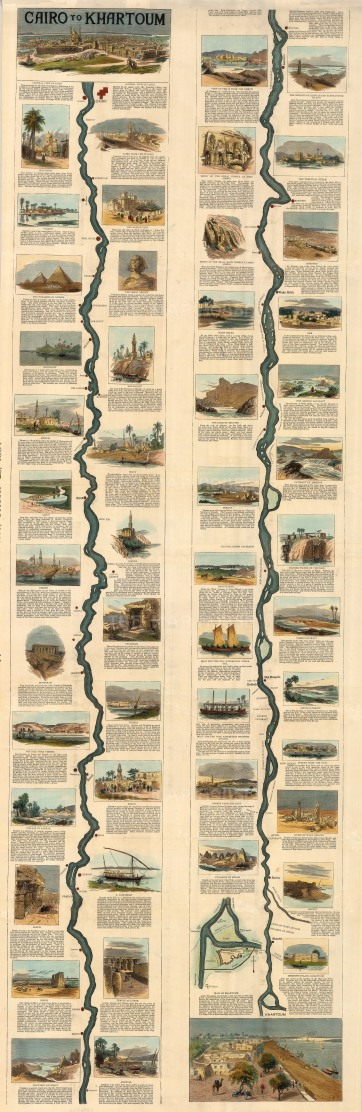 Nile River from Cairo to Khartoum: Showing the route from Cairo of the expedition led by Gen. Wolseley to relieve Gen. Gordon at Khartoum.