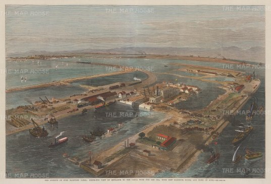 Isthmus of Suez Maritime Canal: Bird's eye view of the entrance to the Canal from the Sea with the new harbour, docks and town of Suez.