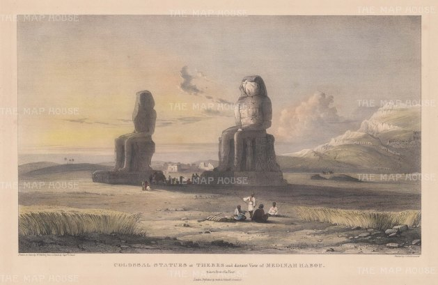 Colossi of Memnon and a distant view of Medinah Habou.