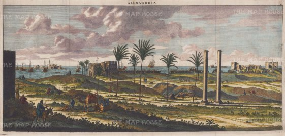 Alexandria Harbour: Panoramic view showing the principal collonaded avenue towards Pharos Island and the old port on the left, with the Great Harbour, the Temple of Neptune and Timonium of Alexander on the right.