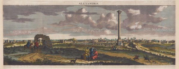 Alexandria: Panorama of the ancient Acropolis with 'Pompey's Pillar', a memorial to Diocletian misnamed during the Crusades.