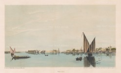 Island of Er-Rhodah (Rhoda Island): Southern part of the Island with the town of Masr El-Ateekah in old Cairo.