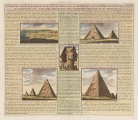 """Chatelain: Gizeh. 1719. A hand coloured original antique copper engraving. 20"""" x 15"""". [EGYp878]"""
