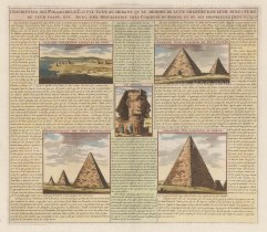 Four views of pyramids and the Sphinx. With a description in French of design and history.